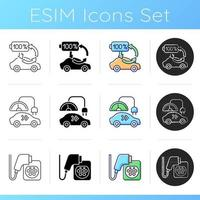 Electric vehicle charging icons set. Types of charging connectors for electromobiles. Ecological fuel for transort. Linear, black and RGB color styles. Isolated vector illustrations