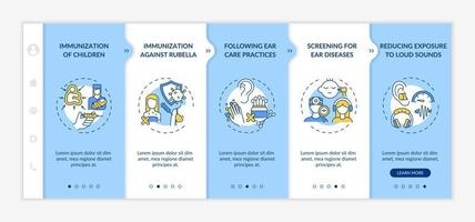 Hearing loss preventive measures onboarding vector template. Responsive mobile website with icons. Web page walkthrough 5 step screens. Children immunization color concept with linear illustrations
