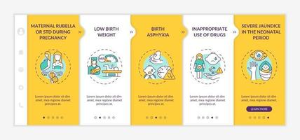 Congenital hearing loss factors onboarding vector template. Responsive mobile website with icons. Web page walkthrough 5 step screens. Maternal STD, large dose color concept with linear illustrations