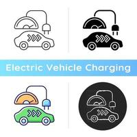 Level 3 charger icon. Rapid way for getting car battery filled up. Fast electricity source. Ecological fuel usage. Linear black and RGB color styles. Isolated vector illustrations