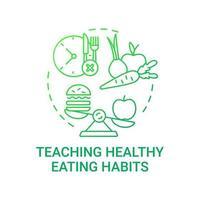 Enseñar el icono del concepto de hábitos alimenticios saludables. requisitos de comidas escolares. mejorando las comidas diarias. obteniendo vitaminas y nutrientes idea ilustración de línea fina. Vector contorno aislado dibujo a color rgb