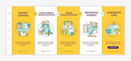 Genetic diseases health care onboarding vector template. Responsive mobile website with icons. Web page walkthrough 5 step screens. Medicine color concept with linear illustrations