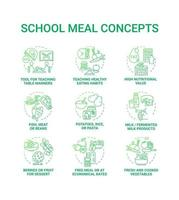 School meal concept icons set. Creating school eating plan full of nutritions and vitamins. Healthy foods preparing idea thin line RGB color illustrations. Vector isolated outline drawings