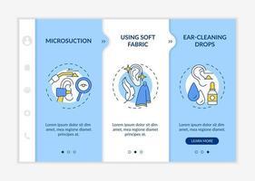plantilla de vector de incorporación de métodos de limpieza de oídos. sitio web móvil receptivo con iconos. Tutorial de la página web Pantallas de 3 pasos. Gotas para limpiar los oídos, concepto de color de irrigación con ilustraciones lineales