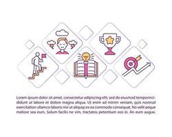 iconos de línea de concepto de desarrollo de influencers con texto. plantilla de vector de página ppt con espacio de copia. folleto, revista, elemento de diseño de boletín. ilustraciones lineales de crecimiento profesional en blanco