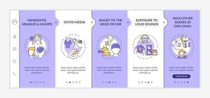 Acquired hearing loss factors onboarding vector template. Responsive mobile website with icons. Web page walkthrough 5 step screens. Mumps, measles, earwax color concept with linear illustrations