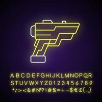 Laser weapon neon light icon. Ray gun. Beam pistol. Dystopian war. Cyberpunk movie, sci fi game. Outer glowing effect. Sign with alphabet, numbers and symbols. Vector isolated RGB color illustration