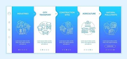 Surrounding air pollution onboarding vector template. Responsive mobile website with icons. Web page walkthrough 5 step screens. Natural pollutant, construction color concept with linear illustrations