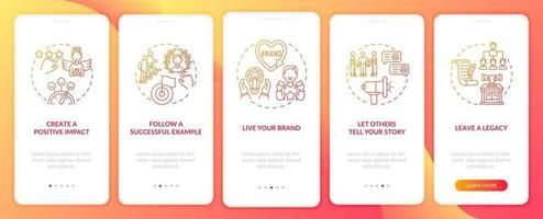 Personal branding tips orange onboarding mobile app page screen with concepts. Credibility growth walkthrough 5 steps graphic instructions. UI, UX, GUI vector template with linear color illustrations