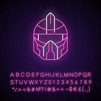 Icono de luz de neón de casco futurista. soldado cyberpunk, persona de ciencia ficción. tecnología futurista. efecto brillante exterior. firmar con alfabeto, números y símbolos. vector aislado ilustración de color rgb