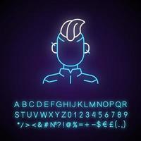 icono de luz de neón de persona cyberpunk. subcultura punk, adolescente gótico. película cyberpunk, juego. efecto brillante exterior. firmar con alfabeto, números y símbolos. vector aislado ilustración de color rgb