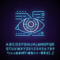 Lens microcircuit neon light icon. Android eye with specs info. Cyberpunk face augmentation. Outer glowing effect. Sign with alphabet, numbers and symbols. Vector isolated RGB color illustration