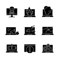 Computer damage black glyph icons set on white space. Burning notebook. smoke from keyboard. Crashed monitor screen. Cracked display. Laptop problems. Silhouette symbols. Vector isolated illustration