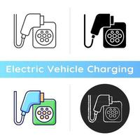 EV charging connectors icon. Electromobile fuel filling up. Ecological way of transporting. Eco energy usage. Natural fuel. Linear black and RGB color styles. Isolated vector illustrations