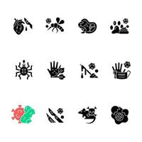 Biohazard black glyph icons set on white space. Insects that carry infected blood. Dangerous virus spreading. Waste from human body parts. Health care. Silhouette symbols. Vector isolated illustration