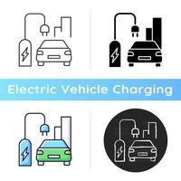 On street residential EV charging icon. Charging stations for electromobiles on streets. Place to charge car battery. Linear black and RGB color styles. Isolated vector illustrations