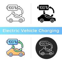 Top up charging icon. Way of charging electric vehicle to keep its battery health and well working. Ecological transort. Linear black and RGB color styles. Isolated vector illustrations