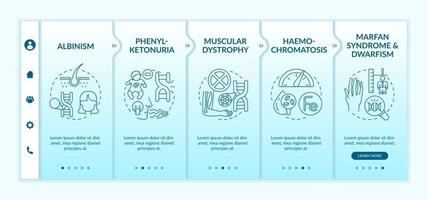 Various genetic disorders onboarding vector template. Responsive mobile website with icons. Web page walkthrough 5 step screens. Inherited physical condition color concept with linear illustrations
