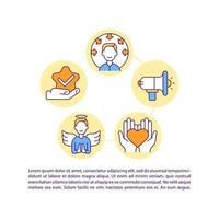 Public favorite concept line icons with text. PPT page vector template with copy space. Brochure, magazine, newsletter design element. Social media influencer linear illustrations on white