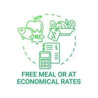 comida gratis o en icono de concepto de tarifas económicas. requisitos de comidas escolares. mejorar la salud comiendo alimentos naturales. Ilustración de línea fina de idea de plan de almuerzo. Vector contorno aislado dibujo a color rgb