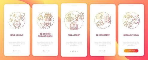 Personal branding rules orange onboarding mobile app page screen with concepts. Brand identity walkthrough 5 steps graphic instructions. UI, UX, GUI vector template with linear color illustrations