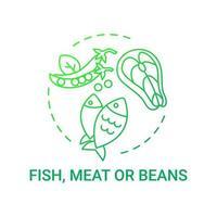 icono de concepto de pescado, carne o frijoles. componentes saludables de las comidas escolares. obteniendo la cantidad adecuada de nutrientes del almuerzo. Ilustración de línea fina de idea de comida saludable. Vector contorno aislado dibujo a color rgb