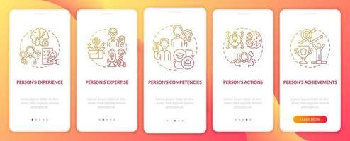 componentes de marca personal naranja incorporación de la pantalla de la página de la aplicación móvil con conceptos. Tutorial del influencer Instrucciones gráficas de 5 pasos. ui, ux, plantilla de vector de interfaz gráfica de usuario con ilustraciones en color lineal