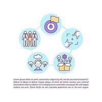equipo logrando objetivos iconos de línea de concepto con texto. plantilla de vector de página ppt con espacio de copia. folleto, revista, elemento de diseño de boletín. trabajo en equipo, cooperación ilustraciones lineales en blanco