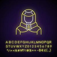 traje de protección icono de luz de neón. persona robótica, cyborg. humano disfrazado de cyberpunk. efecto brillante exterior. firmar con alfabeto, números y símbolos. vector aislado ilustración de color rgb