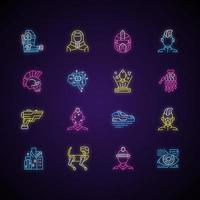 Conjunto de iconos de luz de neón cyberpunk. ciencia ficción. tecnología futurista. aumento corporal. ciudad cyber punk, persona. letreros con efecto exterior brillante. vector aislado rgb ilustraciones en color