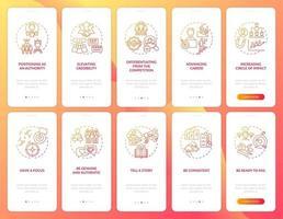 Pantalla de la página de la aplicación móvil de incorporación naranja de marca personal con el conjunto de conceptos. Tutorial de desarrollo de smm Instrucciones gráficas de 5 pasos. ui, ux, plantilla de vector de interfaz gráfica de usuario con ilustraciones en color lineal