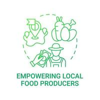 Empowering local food producers concept icon. School meal requirements. Eating health natural foods in schools. Full nutritions idea thin line illustration. Vector isolated outline RGB color drawing