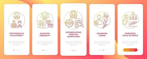 Tareas de marca personal naranja incorporada en la pantalla de la página de la aplicación móvil con conceptos. Guía de objetivos de líder de opinión Instrucciones gráficas de 5 pasos. ui, ux, plantilla de vector de interfaz gráfica de usuario con ilustraciones en color lineal