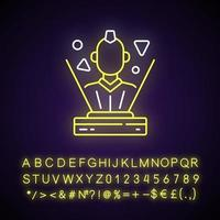 Hologram neon light icon. Innovative interactive system. Cyborg avatar. Cyberpunk, sci fi game. Outer glowing effect. Sign with alphabet, numbers and symbols. Vector isolated RGB color illustration