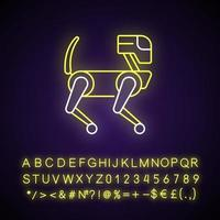 Animal like robot neon light icon. Cyborg mechanical pet. Innovative drone. Futuristic technology. Outer glowing effect. Sign with alphabet, numbers and symbols. Vector isolated RGB color illustration
