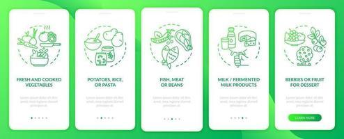 pantalla de la página de la aplicación móvil de incorporación de alimentación escolar saludable con conceptos. Tutorial de pescado y carne Instrucciones gráficas de 5 pasos. ui, ux, plantilla de vector de interfaz gráfica de usuario con ilustraciones en color lineal
