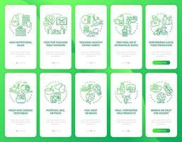 pantalla de la página de la aplicación móvil de incorporación de comidas escolares con conceptos. alimentos escolares para estudiantes paso a paso instrucciones gráficas de 5 pasos. ui, ux, plantilla de vector de interfaz gráfica de usuario con ilustraciones en color lineal