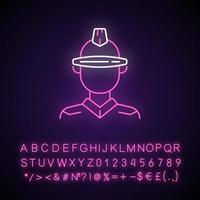 Futuristic glasses neon light icon. Cyberpunk person, sci fi man. Dystopian future. Outer glowing effect. Sign with alphabet, numbers and symbols. Vector isolated RGB color illustration