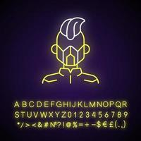 Mask neon light icon. Cyborg man. Person from dystopian future. Cyberpunk movie, sci fi game. Outer glowing effect. Sign with alphabet, numbers and symbols. Vector isolated RGB color illustration