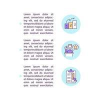 construcción de iconos de línea de concepto de autoridad con texto. plantilla de vector de página ppt con espacio de copia. folleto, revista, elemento de diseño de boletín. crecimiento y lista de verificación ilustraciones lineales en blanco