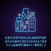 Cyberpunk city neon light icon. Skyscrapers of business centers. Metropolis buildings. Outer glowing effect. Sign with alphabet, numbers and symbols. Vector isolated RGB color illustration