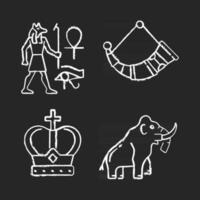 Ancestors heritage chalk white icons set on black background. Egyptian wall drawings. Drinking horns. Royal crown. Mammoth skeleton. Mural painting. Isolated vector chalkboard illustrations