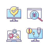 conjunto de iconos de color rgb de diagnóstico informático. mantenimiento de portátiles. búsqueda de virus. desconexión del cable USB. Problema de conexión. soporte técnico, servicio de reparación. ilustraciones vectoriales aisladas vector
