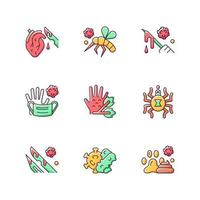 Biohazardous waste RGB color icons set. Spreading viruses biological risk. Toxic medical equipment waste. Animal borne illnesses and diseases. Isolated vector illustrations