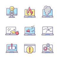 Conjunto de iconos de color rgb de daños informáticos. Cuaderno en llamas. humo del teclado. pantalla del monitor estrellada. pantalla agrietada. problemas con la computadora portátil. soporte técnico, servicio de reparación. ilustraciones vectoriales aisladas vector