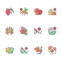 Biohazard RGB color icons set. Insects that carry infected human blood. Dangerous virus spreading. Waste from human body parts. Health care. Isolated vector illustrations