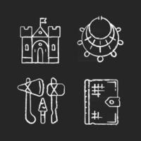 Antiquities excavation chalk white icons set on black background. Medieval castle. Excavated treasure. Stone age weapons. Old texts. Fortress, palace. Isolated vector chalkboard illustrations