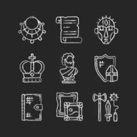 Museum exhibitions chalk white icons set on black background. Ancient jewelry. Historical manuscript. Ritual masks. Royal crown. Greek sculpture. Isolated vector chalkboard illustrations