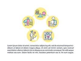 Crecientes iconos de líneas de concepto de adultos saludables y productivos con texto. plantilla de vector de página ppt con espacio de copia. folleto, revista, elemento de diseño de boletín. bocadillos saludables ilustraciones lineales en blanco