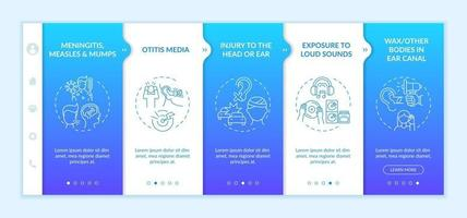 Acquired hearing loss factors onboarding vector template. Responsive mobile website with icons. Web page walkthrough 5 step screens. Exposure to loud sounds color concept with linear illustrations